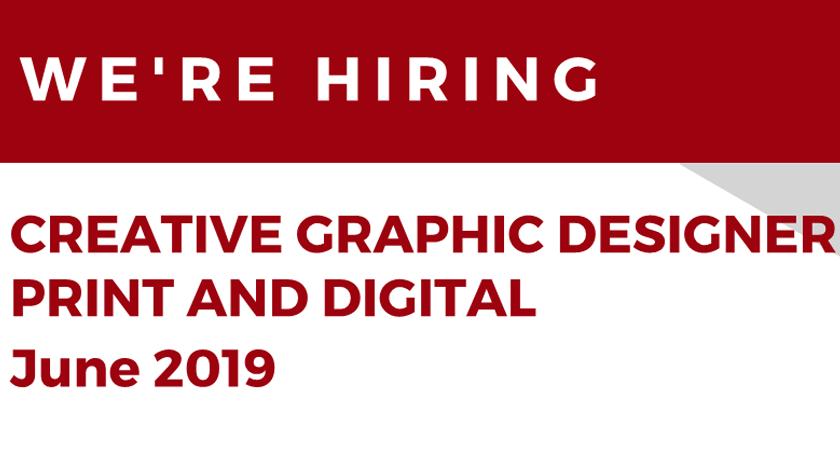 We're Hiring – Creative Graphic Designer